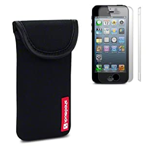 IPHONE 5 / 5S NEOPRENE CARRY CASE WITH SHOCKSOCK LOGO WITH 2 SCREEN PROTECTORS BY CELLAPOD CASES BLACK