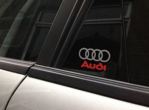 4x Audi Logo Porta Aufkleber adesivo 5x 3Die Cut quattro Sport RS R8TT A1A3A8Q5Q7auto racing