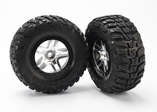 traxxas-5882-kumho-tires-pre-glued-on-satin-chrome-split-spoke-sct-wheels-2wd-front-pair
