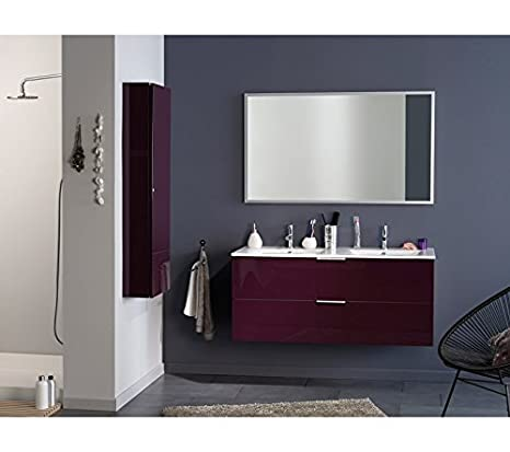 "Luxy II Bathroom 48"" Tower Wall Cabinet Storage with Shelves, Aubergine"