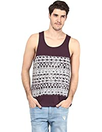 Atorse Mens Maroon And Grey Printed Cut And Sew Casual Sandos