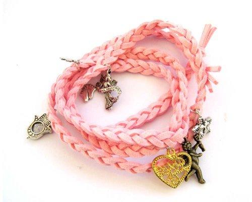 Ovalbuy Fashion Jewelry Pink Korean Velvet Fabric Disney Bracelet with Pendants