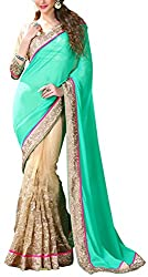 Daksh Enterprises Women's Georgette Saree (2103, Green And Cream)