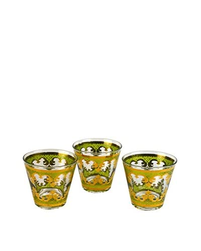 Patina Vie Vintage Set of 3 Georges Briard Cocktail Glasses, Green/Gold
