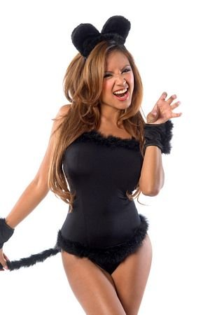 Velvet Kitten 4 PC Cami Sexy Black Cat Costume Set for Women 3083