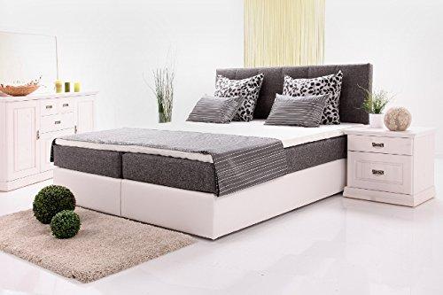Alina Boxspringbett weiß/beige, 180×200 cm Liegefläche, inkl. Topper günstig online kaufen