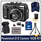Canon G12 10MP Digital Camera w/ 5x Optical Image Stabilized Zoom & 2.8 inch Vari-Angle LCD W HD Video Super Bundle With 16 GB Secure Digital High-Capacity Memory Card, DigPro Deluxe Case, Hi-Speed SD USB 2.0 Card Reader, BP-7L 1150mah Battery Pack & More