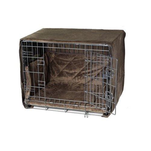 Pet Dreams Side Door Pet Dog Home Indoor Travel Crate Cover Bumper Sleeper Bed - Extra Large / Coco Brown