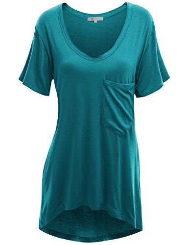 Doublju Women Trendy Crew Neck Short Sleeve Plus Size T-Shirts TEAL,2XL