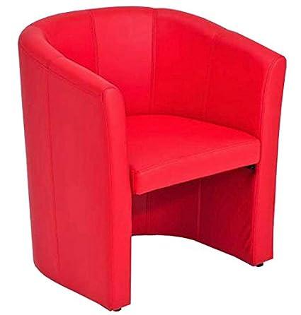 Fauteuil en cuir synthétique coloris rouge, L65 x H75 x P58 cm -PEGANE-