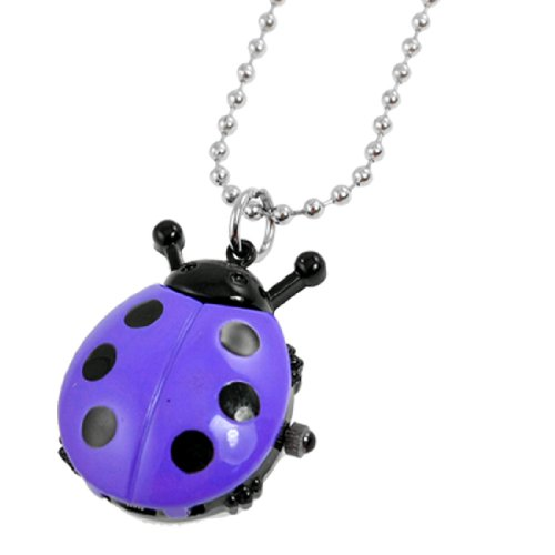 Rosallini Lady Black Purple Ladybug Pendant Silver Tone Beaded Chain Necklace Watch