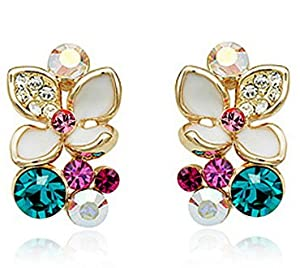 Stunning Leaf Earings with Swarovski crystal 18ct Gold plated