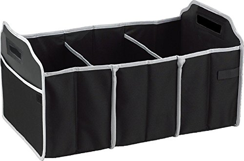 Focus Car Trunk Organizer, 3 Large Sections Collapsible Folding Storage Bin, Black (Storage Bins For Cars compare prices)
