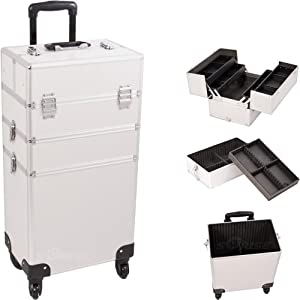 29.5 inch 360 Degree Rotating 4 Wheel Rolling 4 Extendable Accordion Trays Case Pro Silver Aluminum Professional Studio Cosmetic Beauty Makeup Artist Styling Supply Travel Organizer Tote Holder Storage Train Case Cart Trolley + Removable Tray Case With Palette Tray + Adjustable Dividers + Telescoping handle