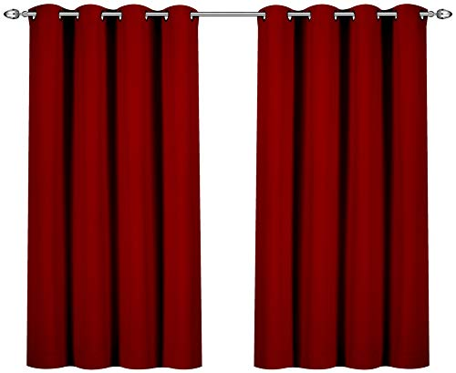 Utopia Bedding Blackout Room Darkening and Thermal Insulating Window Curtains/Panels/Drapes - 2 Panels Set - 8 Grommets per Panel - 2 Tie Backs Included (Pack of 10)