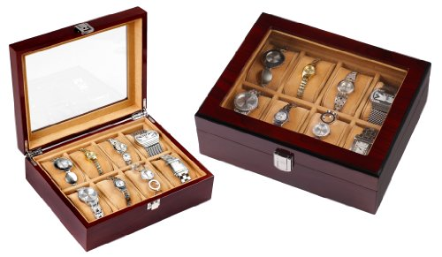Luxury Gifts Inc Mahogany Solid Wood Watch Box for 8 Watches with XXL Compartments - Soft Cushions and Window and Lock