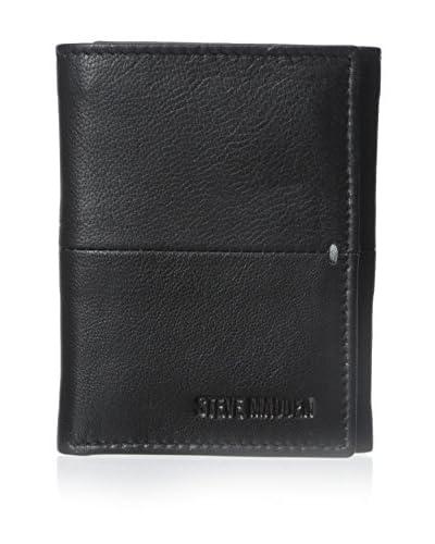 Steve Madden Men's Buck Bar Trifold Wallet, Black, One Size