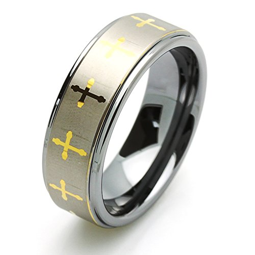 8Mm Comfort Fit Tungsten Carbide Wedding Band Gold Plated Celtic Cross Ring (5 To 15) Size 14