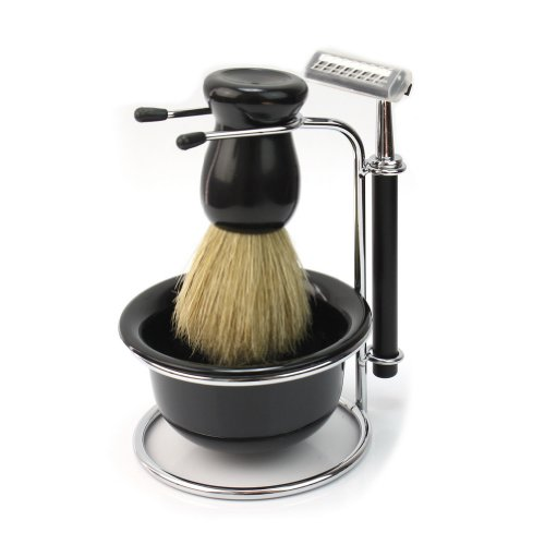 4 In 1 Men Soap Dish Stand Bowl Shaving Razor Beard Brush Shaver Kit Set New