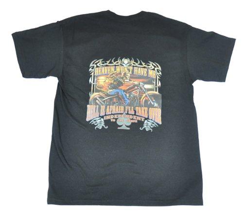 Sun Turtle Men Heaven & Hell Biker Design T Shirt Large Black