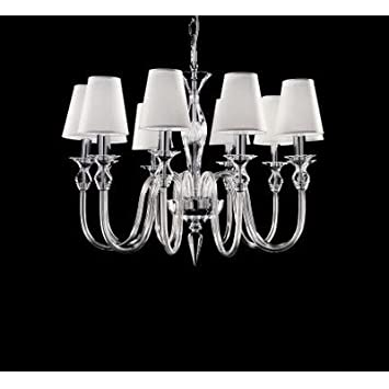 2599 Chandelier with Shade Size / Number of Bulbs: 55 cm H x 69 cm Dia / Five Bulbs, Finish: Chrome, Shade / Dropper Colour: Clear Glass