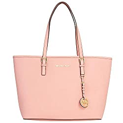 Michael Kors Saffiano Leather Top Zip Tote (Pale Pink)