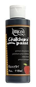 DecoArt DS90-62 Americana Chalkboard Paint, 4-Ounce, Black Slate Chalkboard Paint