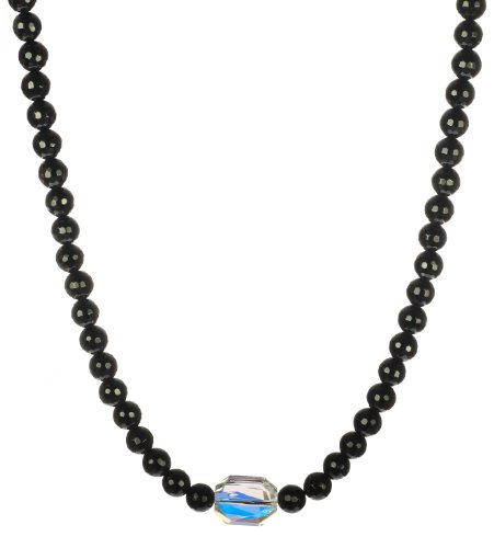 Faceted Swarovski Element Crystal AB Accent Piece on Faceted Black Onyx Strand Necklace with Sterling Silver Clasp, 16
