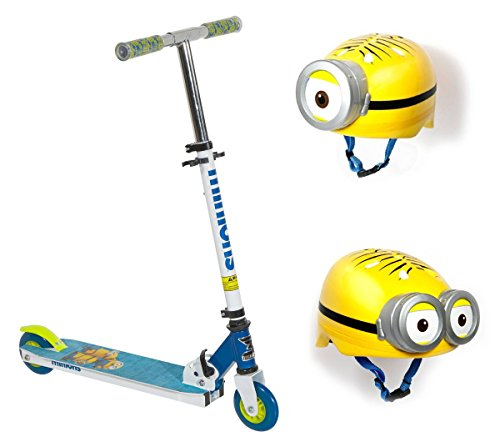 2-Piece-Despicable-Me-3-Minion-Folding-Scooter-w-Multi-Sport-3D-Helmet