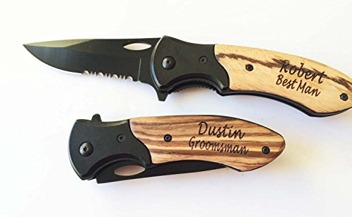 Personalized Engraved Pocket Knife Wood & Matel Handle Holidays Birthday Groomsman Gift