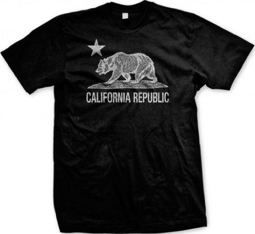 White California Republic Flag Bear And Star Men'S T-Shirt (Black, 2X-Large)