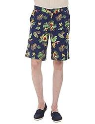 Zobello Men's Printed Summer Twill Shorts(31098F_Multicolor Tropical Print_37)