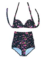Cocoship Flora Print Vintage High Waisted Bikini Sets