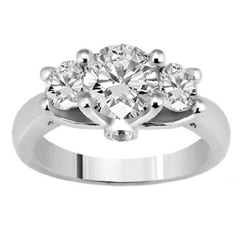 Ring engagement low cost 131 ct tw 3 diamond prong set for Low cost wedding ring sets