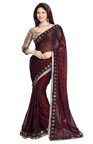 Glory Sarees Womesn's Net brasso reddish maroon saree rasgulla101