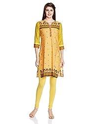 Juniper Women's Straight Kurta (30759_Mustard and Green_X-Large)