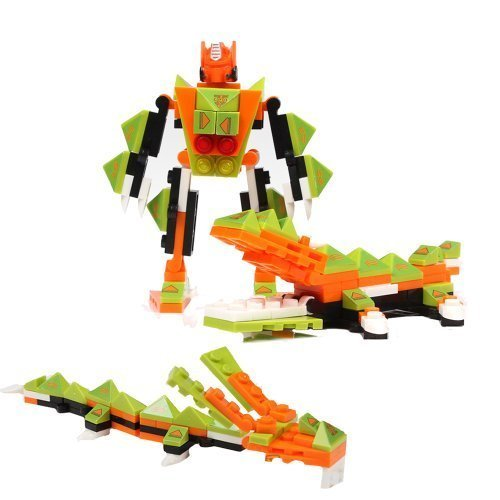 Transform Warrior 3D Robot Transformers to Dragon and Crocodile (3 Types) Building Block Set 02 Steel - 92 Pieces - 1