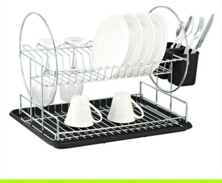 Deluxe Chrome-plated Steel 2-Tier Dish Rack with Drainboard