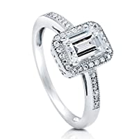 BERRICLE Sterling Silver Emerald Cut Cubic Zirconia CZ Halo Womens Engagement Wedding Bridal Ring by BERRICLE