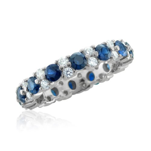 Garland Diamond and Sapphire Eternity Band in Platinum Band (G, SI1-SI2, 2.65 cttw), Certificate of Authenticity