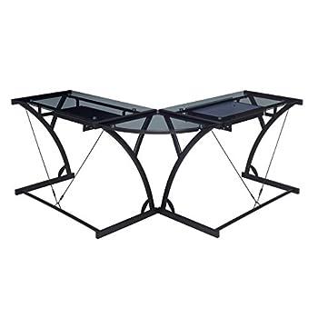 Regency Soho Computer Corner Desk- Smoked Glass