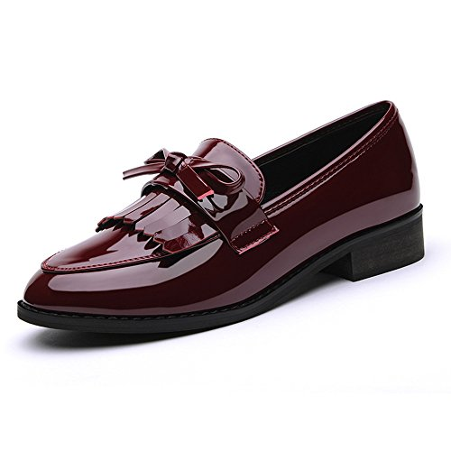Laikajindun Delicate Women's Artificial Leather Round Mouth Bowknot Loafers