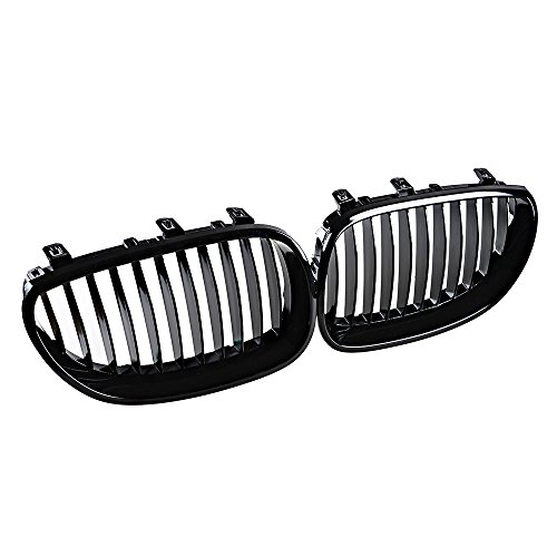 1 Pair Glossy Black Euro Direct Replacement Front Kidney Grille Grill for BMW 2003-2010 E60 5-Series (Bmw 5 Series Grill compare prices)