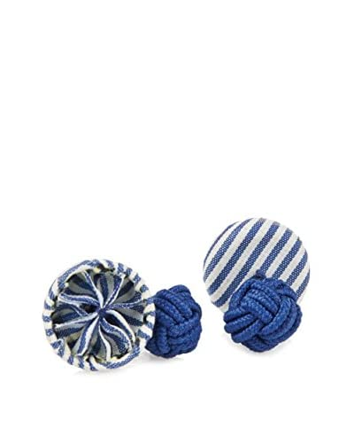 J. McLaughlin Men's Blue & White Stripe Rosette Cufflinks