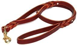 Signature K9 Double Handle Braided Leather Leash, 4-Feet x 3/4-Inch, Burgundy