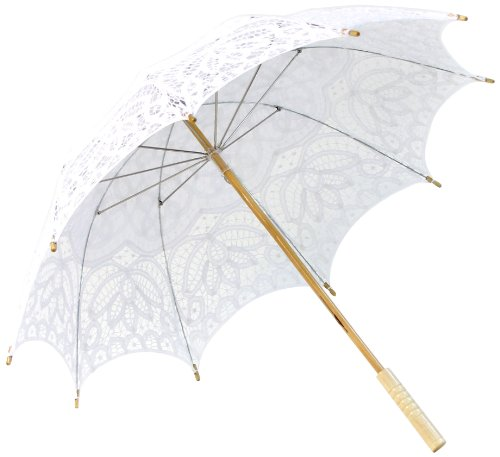 Koyal Wholesale Battenburg Lace Parasol Umbrella, White