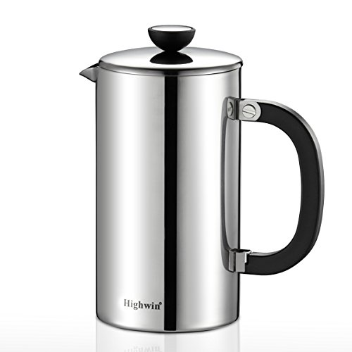 Highwin 8-Cup Double Wall Stainless Steel French Coffee Press, Durable Coffee Tea Maker with Unique Double Screens Filters, Silver