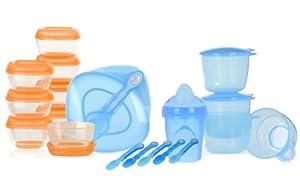 Vital Baby - Kit de destete (recipientes, vasos, cucharas), color azul de VITAL AUDIO