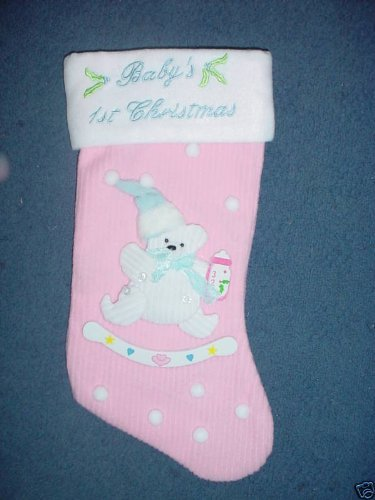 Pms 38cm Babies 1st Christmas Stocking - Baby Girl (pm73)