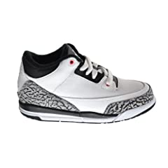 Air Jordan 3 Retro Infrared 23 (BP) Little Kids Basketball Shoes White Black-Cement... by Jordan